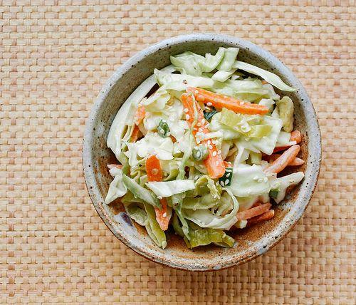 vegan coleslaw using tahini