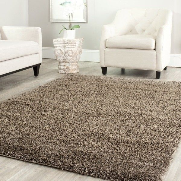safavieh california cozy solid mushroom shag rug 246 liked on polyvore featuring home - Fluffy Rugs