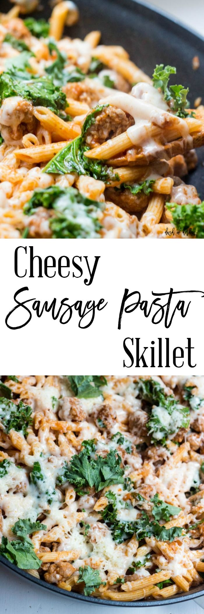 Cheesy Sausage Pasta Skillet - One pot meals and recipes are essential in our house. This cheesy sausage pasta skillet is perfect for those busy weeknights when you are busy but want a delicious meal.  http://dashofherbs.com/cheesy-sausage-pasta-skillet/