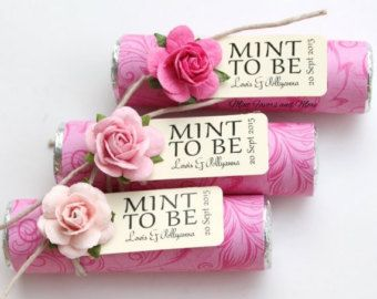 """Items similar to Mint wedding Favors - Set of 180 mint rolls - """"Mint to be"""" favors with personalized tag - burlap wrapped, rose mix, colorful party favors on Etsy"""