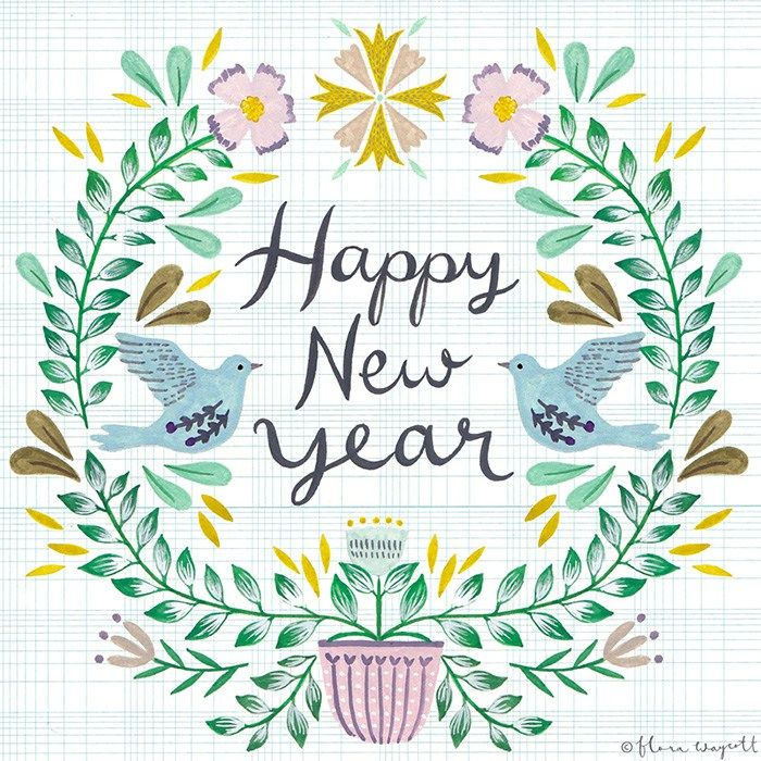 New-year-illustration-florawaycottdesign seen on HappyMakersBlog.com #newyear #nieuwjaarskaart