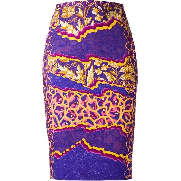 Peter Pilotto printed pencil skirt ($725) ❤ liked on Polyvore featuring skirts, multi colored skirt, colorful skirts, purple pencil skirt, colorful pencil skirts and multi color skirt