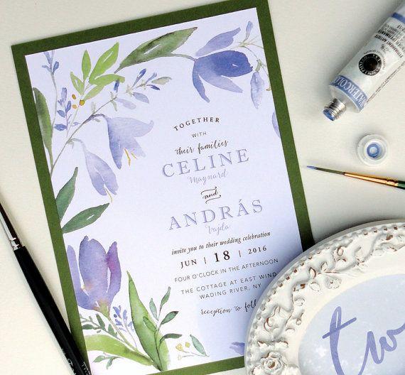 SAMPLE  Amethyst Bouquet Layered Invitation Set by NooneyArt #lavenderwedding #watercolorwedding