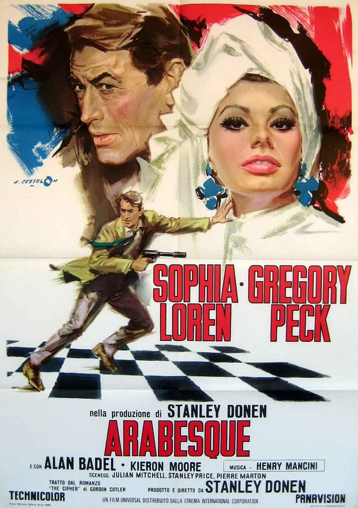 Arabesque (1966) starring Sophia Loren & Gregory Peck — Italian film poster. Art by Angelo Cesselon.