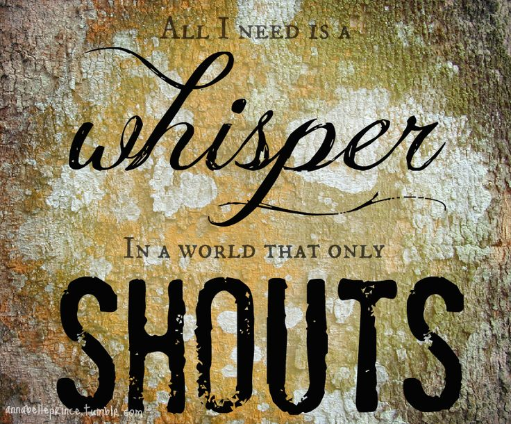 All I need is a Whisper in a world that only Shouts