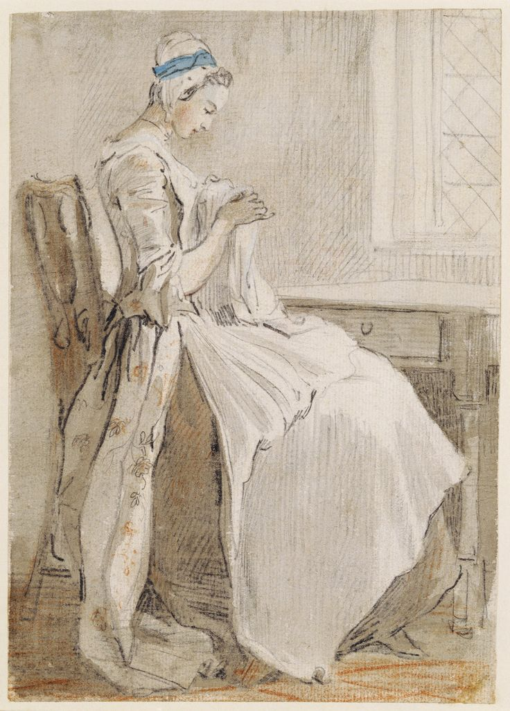 Paul Sandby illustration of a woman sewing, ca18th century with a blue ribbon on her cap