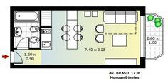 DEPARTAMENTO 1 AMBIENTE ----          El diseño de este departamento de un ambiente responde a este tipo de construcción. Con forma rectangular, el diseño incluye la entrada y un baño a la izquierda. Luego, el resto de la extensión nos muestra la cocina, una mesa – barra desayunadora y unos pequeños sillones, una mesita auxiliar y un sillon de tres cuerpos que se hace cama.