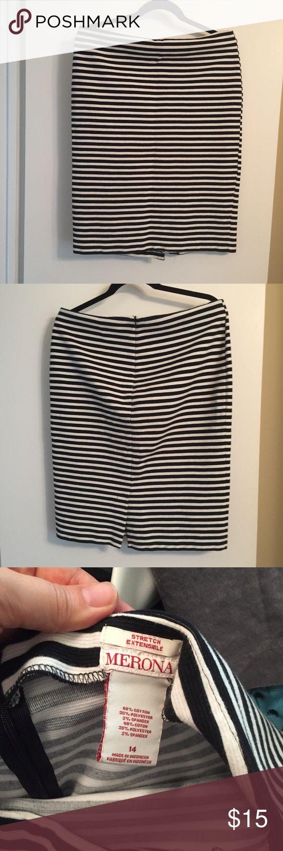 Merona - black and white striped pencil skirt Black and white striped pencil skirt, a classic look and classic silhouette! Merona Skirts Pencil