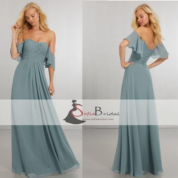 Off Shoulder A-line Chiffon Wedding Guest Dresses, Cheap Bridesmaid Dresses, PD0404