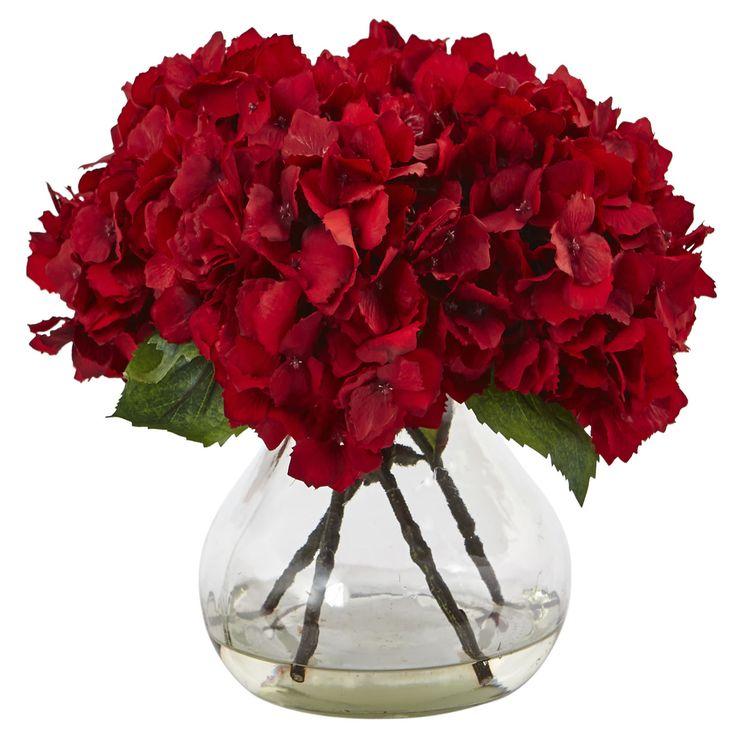 Red Hydrangea with Vase Silk Flower Arrangement