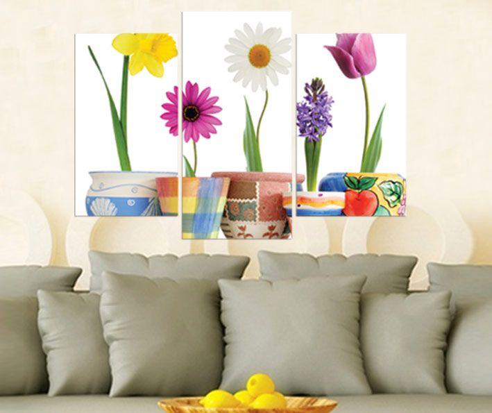 Saksıda Çiçekler Tablo 3 parçalı tablolar