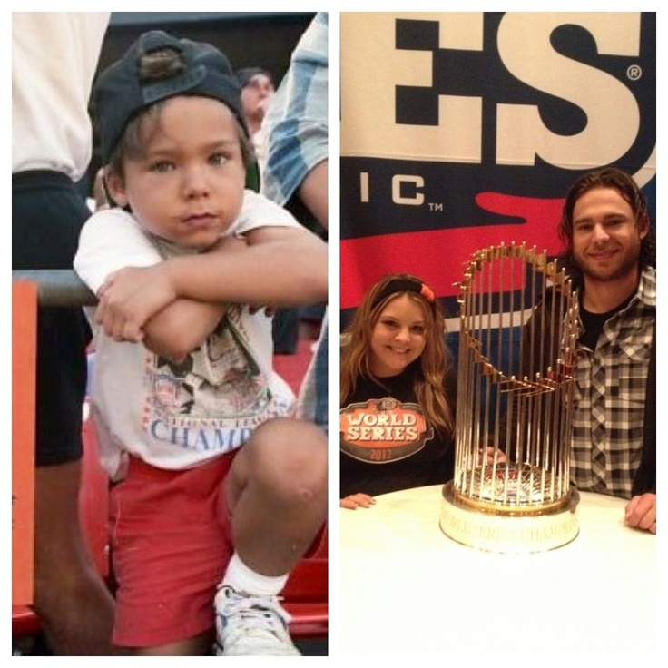 Brandon Crawford - age 5 at Candlestick Park in 1992 and 20 years later as a member of the 2012 World Champion Giants . Never give up your dream.