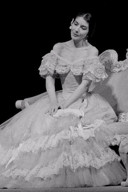 Maria Callas as Violetta in the Franco Zefirelli's production of La traviata. The Royal Opera 1958