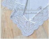 GRAY Christening Baby crochet blanket - Baby Girl Blanket and Baby Girl blanket - made to order