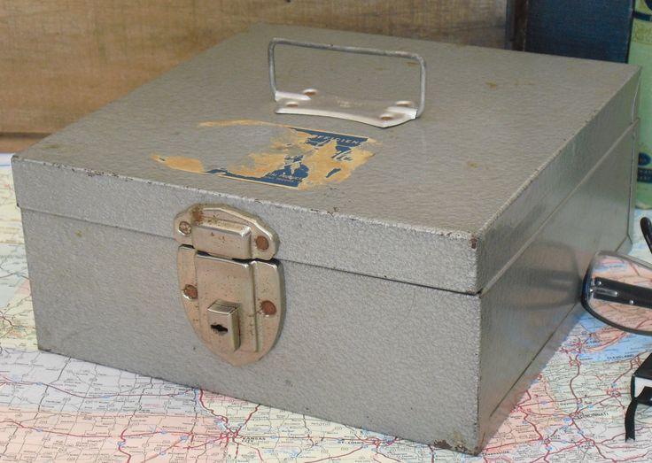 vintage gray metal lock box swanco keepsakes coins knives metal storage