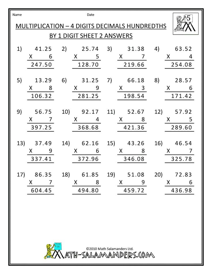 Grade Double Digit Multiplication Worksheets 5th Grade By
