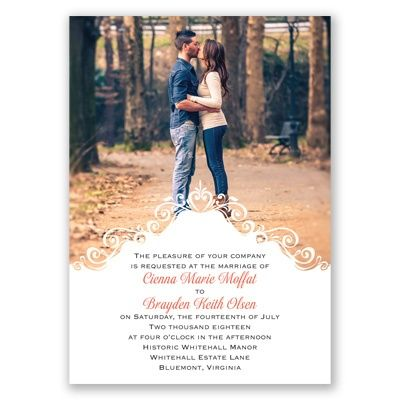 Filigree Crest Photo Wedding Invitation; available in 40+ colors