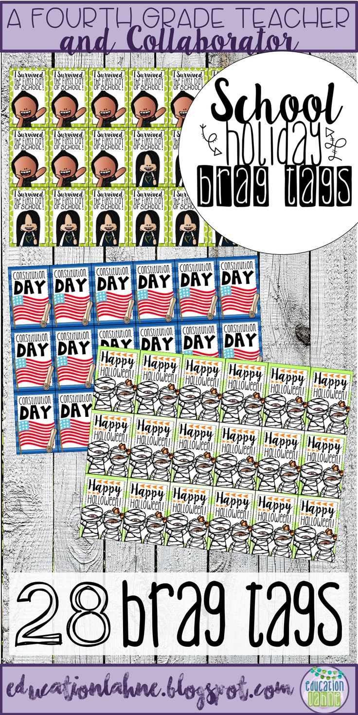 School Holiday Brag Tags are the perfect addition to your own classroom celebration or observance of each holiday. Grab them during back to school time to be prepared for the entire school year! For more brag tags and upper elementary resources, visit Education Lahne on Pinterest.