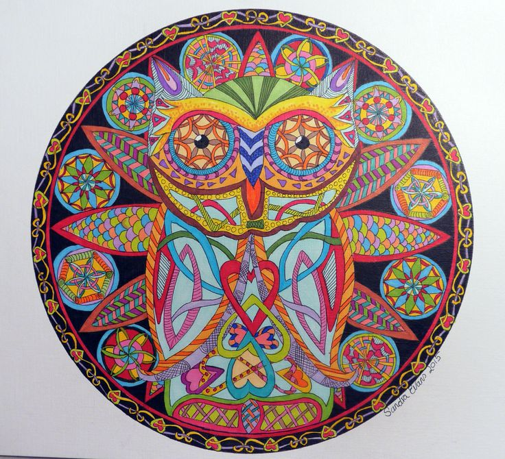 Ollie the Owl #owls #Celtic #drawing #fowers #mandala #wings #circles #birds #hearts #zentangle