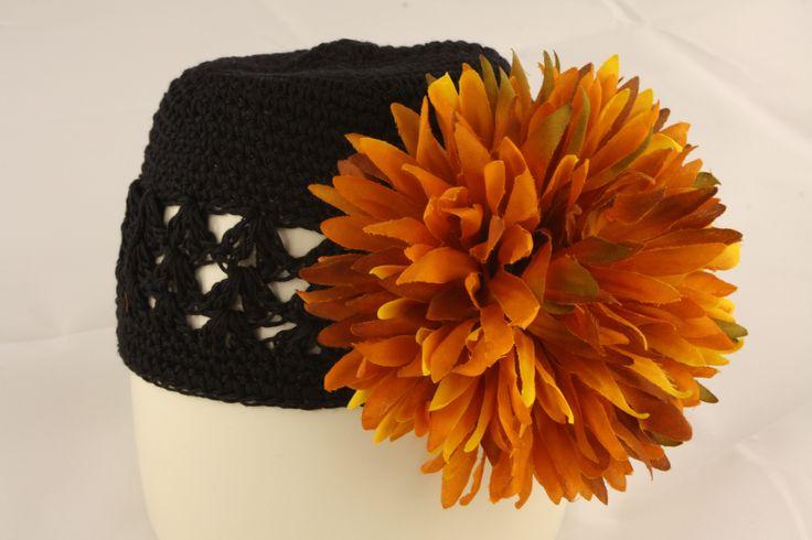Black Knit Hat with Orange Poof Flower