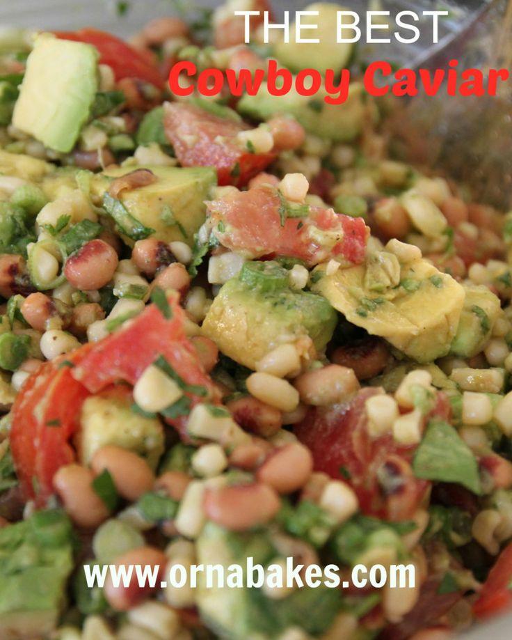 THE BEST Cowboy Caviar - OrnaBakes. Black-eyed peas, green onion, cilantro, cumin dressing. SOOOO GOOD! #superbowl #weightwatchers #pointsplus