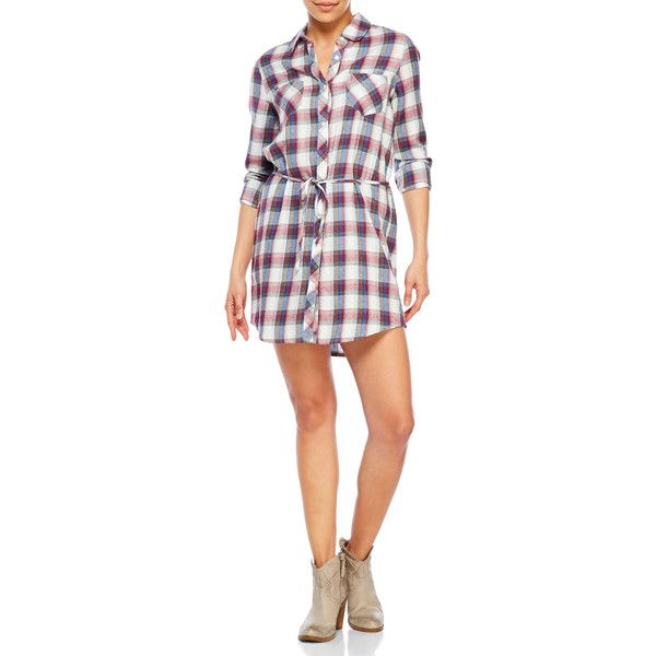Soft Joie Long Sleeve Plaid Shirt Dress ($80) ❤ liked on Polyvore featuring dresses, blue, plaid shirt dresses, long-sleeve shirt dresses, blue long sleeve dress, cotton dresses and shirt dress