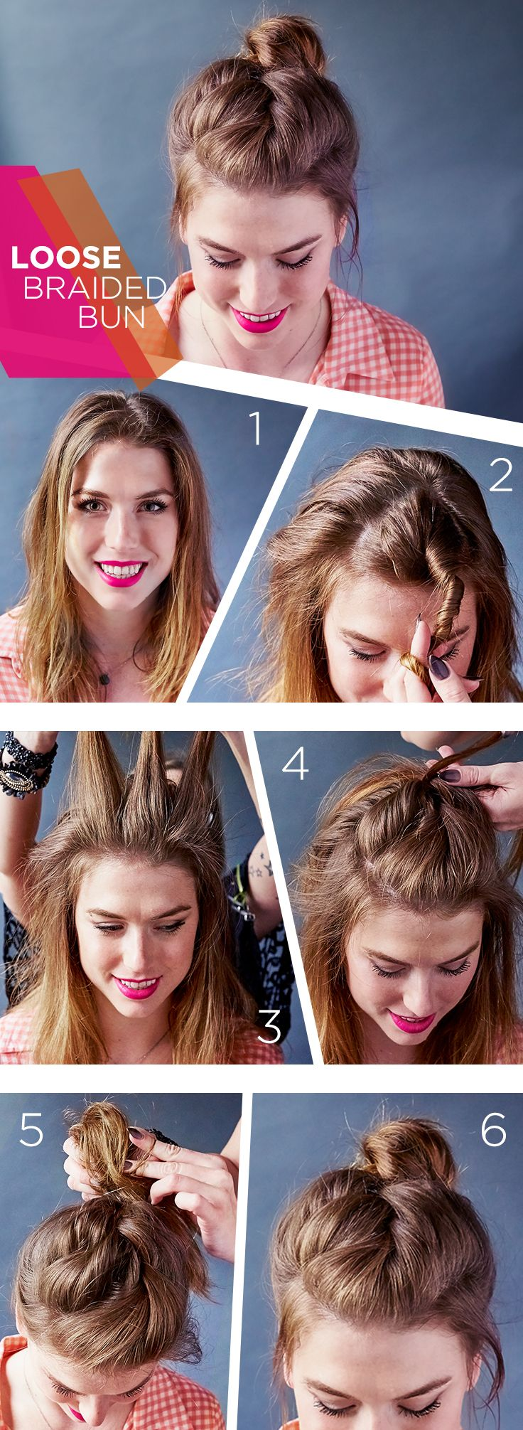 Here's a new take on the messy bun. Get this Loose Braided Bun tutorial in just 6 easy steps.