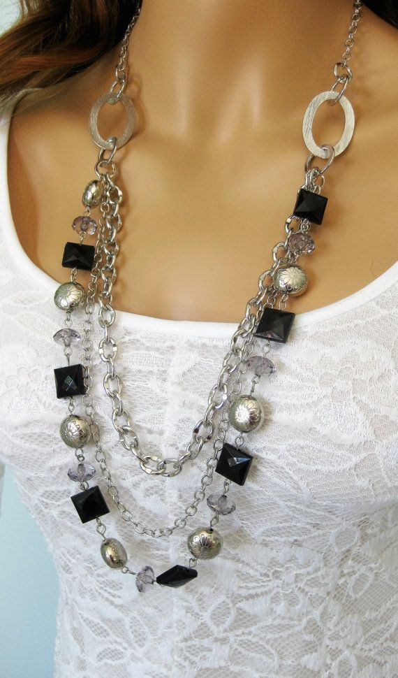 Long Multi Strand Black and Silver Beaded by RalstonOriginals