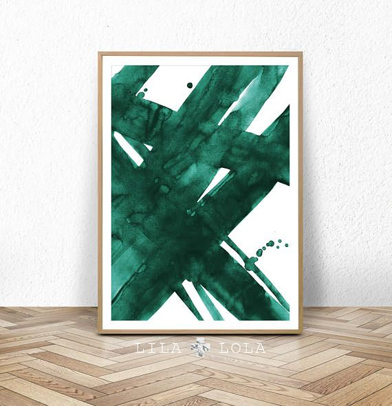 Abstract Wall Art Print, Green Painting, Emerald, Teal Decor, Modern Minimalist, Watercolor, Printable Digital Download, Large Poster