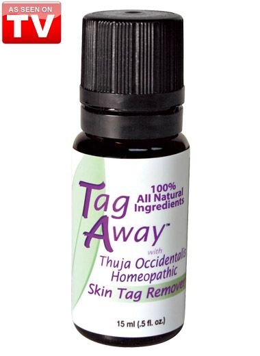 Get rid of embarrassing skin tags with Tag Away Skin Tag Remover As Seen on TV. Just a few drops a day naturally eliminate unsightly skin tags. In a few short weeks, skin tags just dry up and fall off without pain or scarring. Made from 100% all natural plant extracts including Thuja Occidentalis, a pure essential oil recognized for its tag-removing properties. No harsh chemicals. 15 ml.
