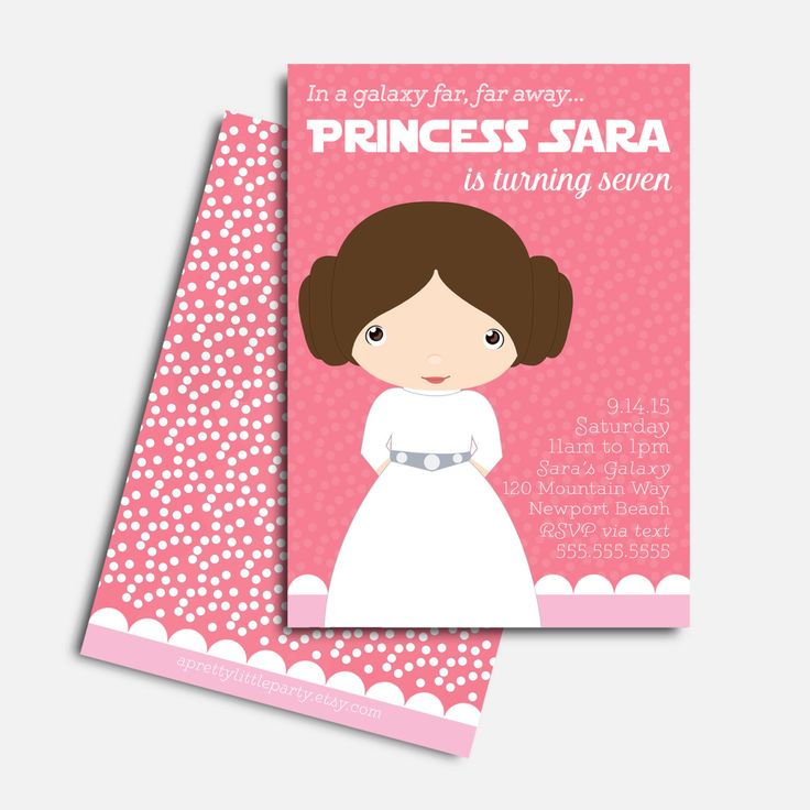 Leia Star Wars Invitation - Girls Star Wars Party - Printed Party Invitations by aprettylittleparty on Etsy https://www.etsy.com/listing/227755992/leia-star-wars-invitation-girls-star