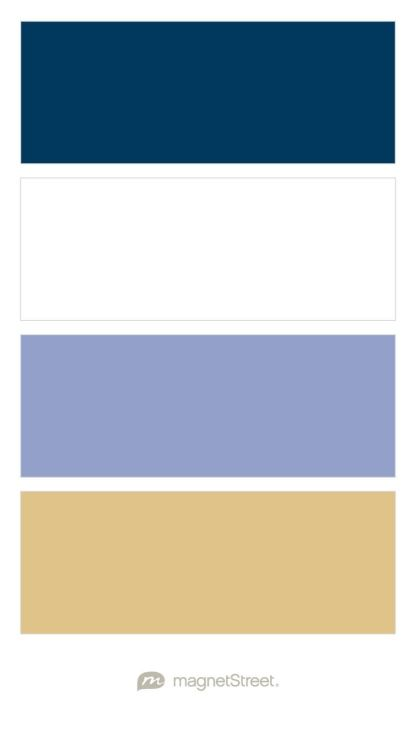 Navy, White, Periwinkle, and Gold Wedding Color Palette - custom color palette created at MagnetStreet.com OR THIS BETTER WITH PERIWINKLE?