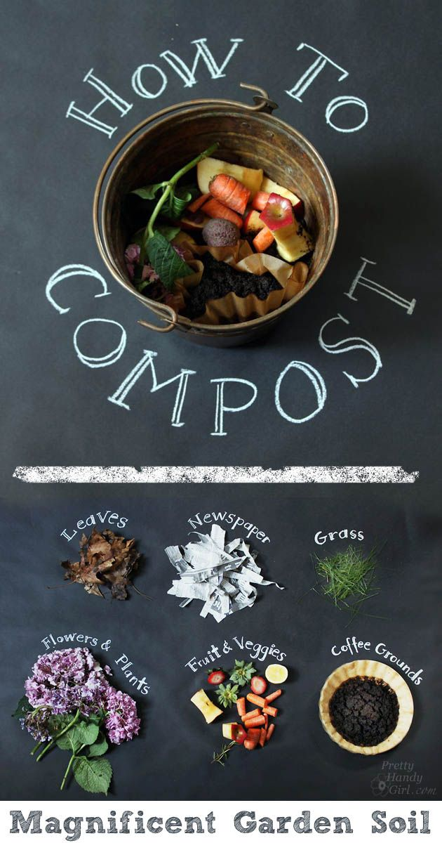 Time or money invested in your garden's soil always brings the best returns: healthy, vigorous plants and great harvests. And when you keep yard waste and kitchen scraps from the landfill you're doubly rewarded. You can buy ready-made,organic compostto get a jump start. But it's easy and inexpensive to make your own with the right materials and proper equipment. Pretty Handy Girl made a perfect guide for beginners. So what can be composted? Only raw fruits and veggies (and egg shell)…