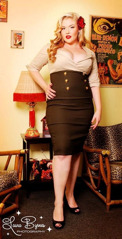 """Military Secretary Dress in Tan and Green by Pinup Couture - Plus Size - Our """"Military Secretary"""" pinup dress is the perfect wiggle dress for the perfect pinup look. This dress is much like the ones the pinup girls painted along the sides of the WW2 planes that our men in uniform adored. Perfect for fall, this dress features include a sexy v cut collared neckline, with three quarter cuffed sleeves, a wiggle skirt, and gold metal anchor buttons along the waist. The great thing about this…"""