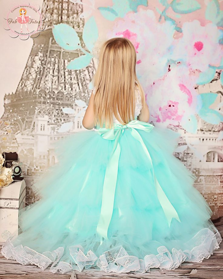 """Perfect flower girl tutu dress for a wedding in Tiffany blue and white. Any length or size or color. Custom made for your girl. """"Audrey"""" layered flower girl tutu dress in Tiffany blue with white rosette bodice"""