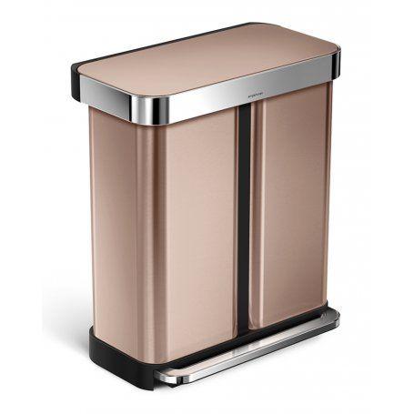 Simplehuman Dual Recycling Bin   Rose Gold   58L   Binopolis