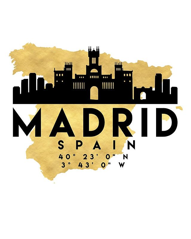 MADRID SPAIN SILHOUETTE SKYLINE MAP ART -  The beautiful silhouette skyline of Madrid and the great map of Spain in gold, with the exact coordinates of Madrid make up this amazing art piece. A great gift for anybody that has love for this city.  madrid spain downtown silhouette skyline map coordinates souvenir gold deificus art