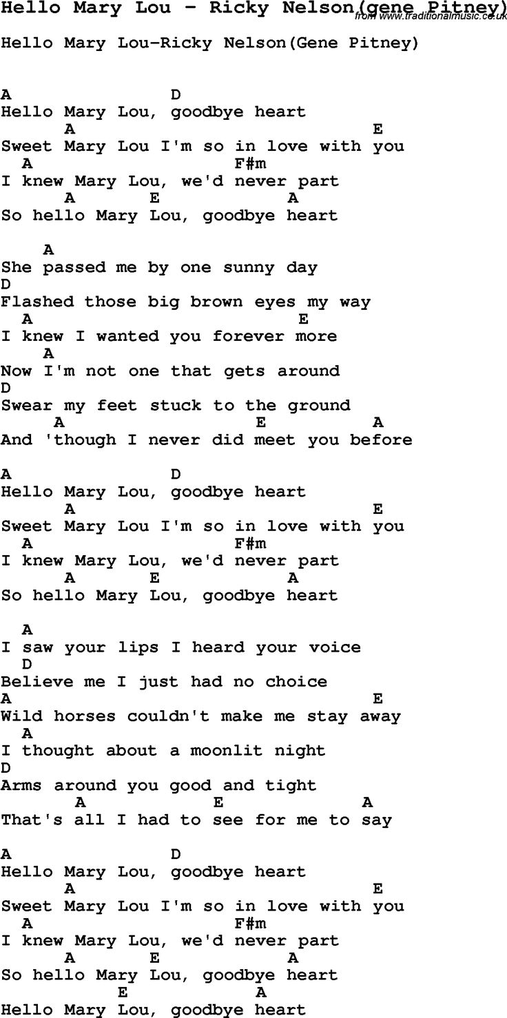 Song Hello Mary Lou by Ricky Nelson(gene Pitney), with lyrics for vocal performance and accompaniment chords for Ukulele, Guitar Banjo etc.