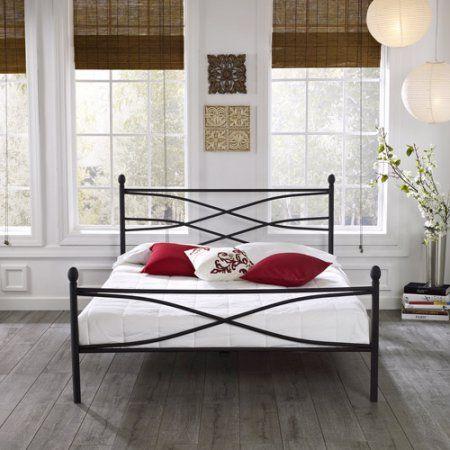 $99.88 Premier Pia Metal Platform Bed Frame, Full with Bonus Base Wooden Slat System - Walmart.com