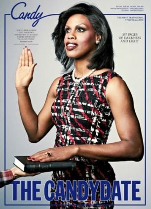 A striking transgender model made up to look like Michelle Obama being sworn into office has been put on the front cover of a U.S. magazine.Luis Venegas, publisher of the first transsexual style magazine Candy, said he put model Connie Fleming on the front cover because he was inspired by the idea that a black, transsexual woman could one day be president of the Unites States