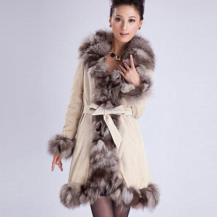 """Дешевое 010204 Вт настоящая кожа пальто с меховой воротник отделка верхней одежды одежды winters' пальто женщин """" addres, Купить Качество Мех и искусственный мех непосредственно из китайских фирмах-поставщиках:            C  Olor 1 ----- серый                                 C  Olor 2 ----- черный            &nb"""