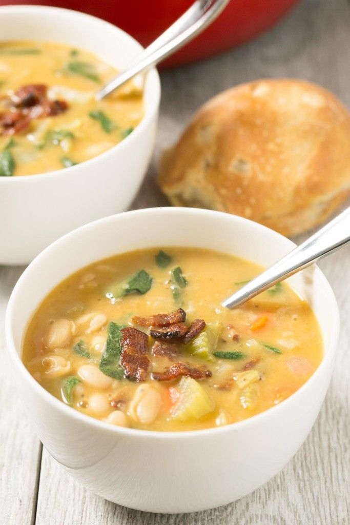 Bacon and White Bean Stew with Swiss Chard - BEST soup ever!