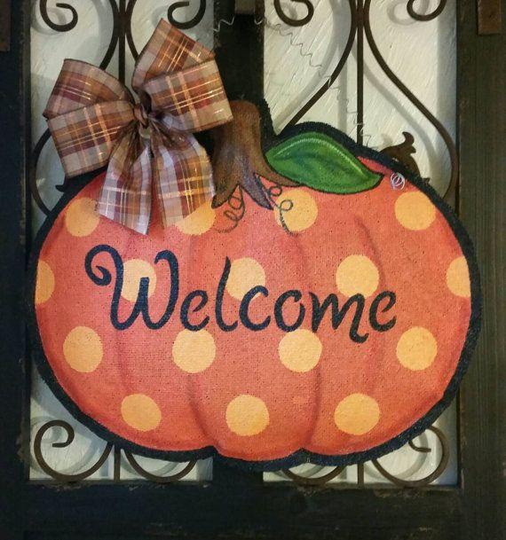 Hand painted pumpkin burlap door hanger  So cute for fall! Measures 20 inches…