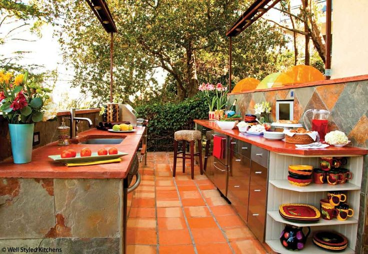 spanish style outdoor kitchen backyard wants pinterest