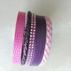Bracelet manchette multirang en cuir rose fuschia et violet - taille s