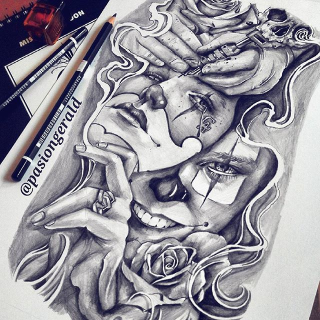 """Cry Now Laugh Later"" #flashbackfornow Have a good weekend #sketch#pencil#art #drawing#draw#ink #bic#payasa#tattoo #artfido#rose#smoke #clown#cry#laugh #skull#illustration #design#dope #asia#PH"