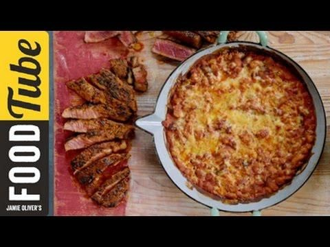 Quick Cajun Steak with BBQ Baked Beans | Jamie Oliver
