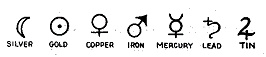 In ancient Babylon these symbols were given for the metals gold, copper, tin, iron, silver, mercury and lead. They are still widely used today in chemical charts.