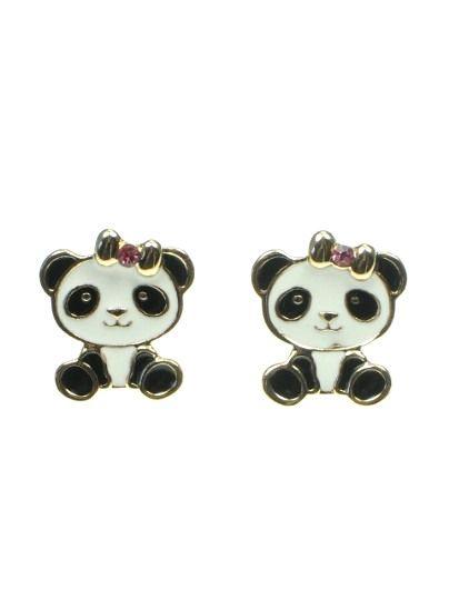 €2,45 per paar. Zwarte panda beertjes oorbellen (steker) #kinderoorbellen #oorbellen