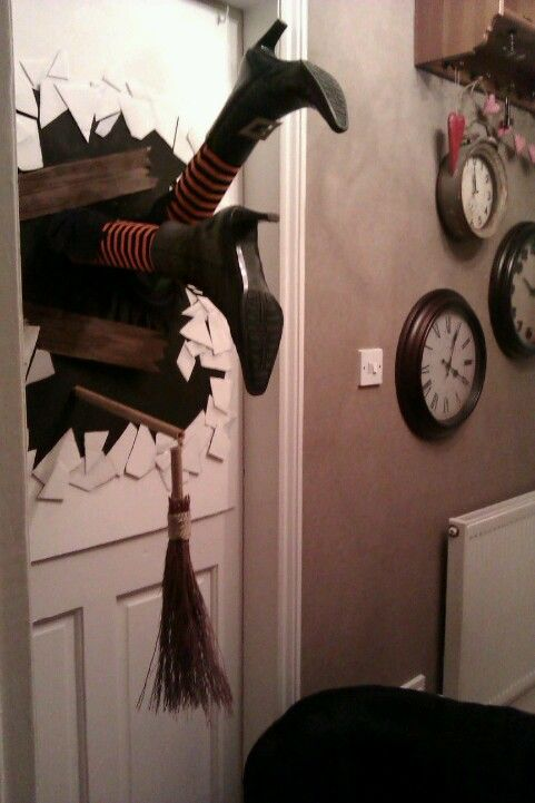 Witch crashing | make with a pair of mannequin legs and thrift shop boots, and holiday stockings or socks | Halloween